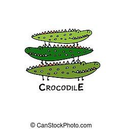 krokodilok, skicc, család, tervezés, -e