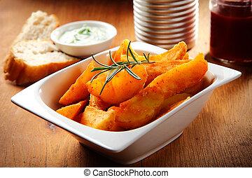 krumpli, tál, füvek, fehér, sült, friss