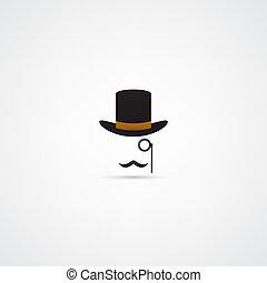 kuglizó kalap, bajusz