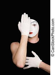 kukucskál, artful, komédiás, portré, pár kesztyű, fehér