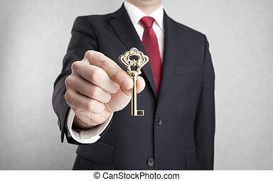 kulcs, kéz, arany-, üzletember