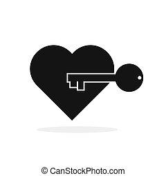 kulcs, key., vektor, illustration., alakít, icon., szív