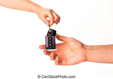 kulcs, kezelő, hím, másik, autó, felett, elszigetelt, azt, személy, hatalom kezezés