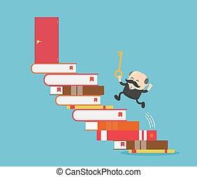kulcs, lock., siker, birtok, könyv, üzletember, ajtó, futás