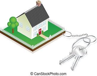 kulcsok, épület, hozzácsatolt, keyring