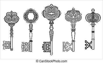 kulcsok, antik, 1, állhatatos, gyűjtés
