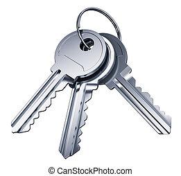 kulcsok, fém, elszigetelt, háttér, fehér, csokor