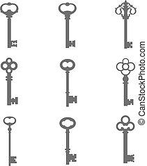 kulcsok, körvonal, állhatatos, kilenc, vektor
