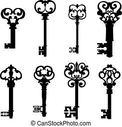 kulcsok, mód, állhatatos, öreg, retro