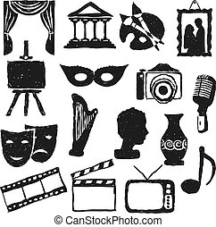 kultúra, szórakozottan firkálgat, mozi