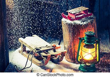 kunyhó, hygge, bölcselet, tél, retro