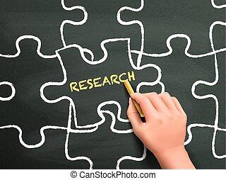 kutatás, fejtörő munkadarab, kéz, szó, írott