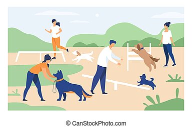 kutyák, emberek, felszerelés, boldog, képzés, ugrás