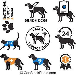 kutyák, emblémák, szolgáltatás, érzelmi, állatok, eltart