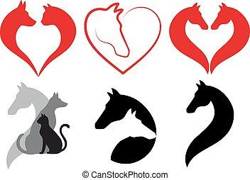kutya, állhatatos, szív, macska, ló, vektor