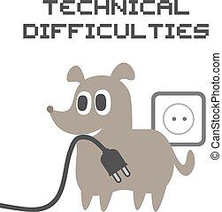 kutya, furcsa, rajzol, nehézségek, műszaki