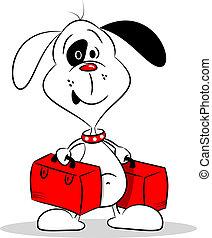 kutya, karikatúra, bőrönd