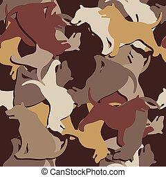 kutya, motívum, vektor, háttér., árnykép, álcáz, sötét, kép, seamless