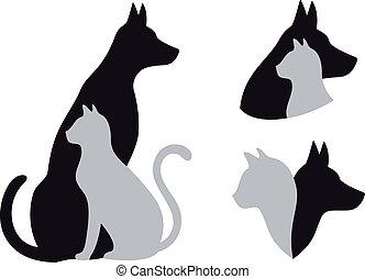 kutya, vektor, macska