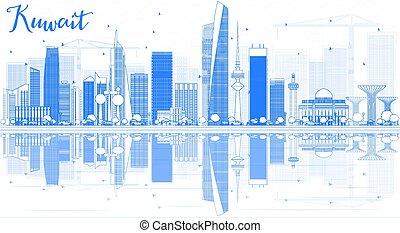 kuvait, reflections., épület város, láthatár, áttekintés, kék
