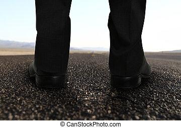 lábak, álló, út