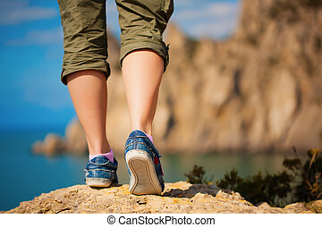 lábak, gumitalpú cipő, női, tourism.