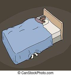lábak, ideges, ember, ágy, alatt