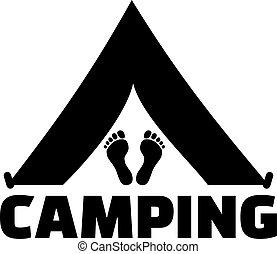 lábak, szó, kempingezés sátor