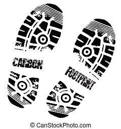 lábfej, indigó, nyomtat, cipő