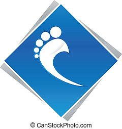 lábfej, pedikűrös, kék, jel