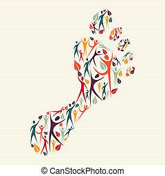 lábfej print, fogalom, változatosság, emberi