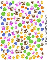 lábnyom, állatok, seamless, színes