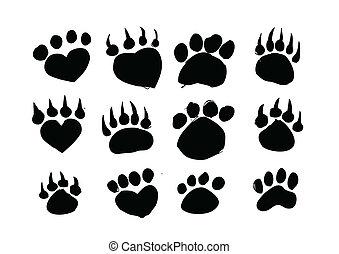 lábnyomok, körvonal, állat