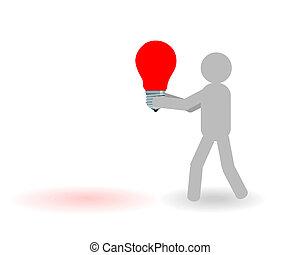 lámpa, ember