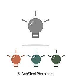lámpa, fehér, ikon, elszigetelt, háttér
