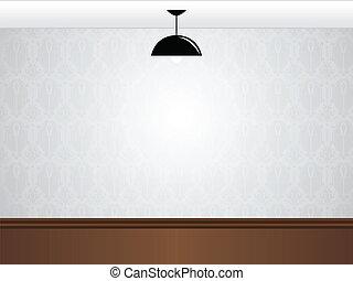 lámpa, fekete, üres, fal, wooden emelet, szoba, fehér