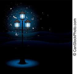 lámpa, utca, öreg, éjszaka