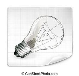 lámpa, vektor, rajz