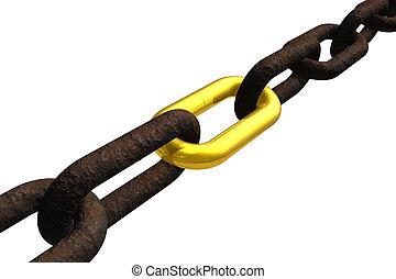 lánc, berozsdásodott, összekapcsol, arany-
