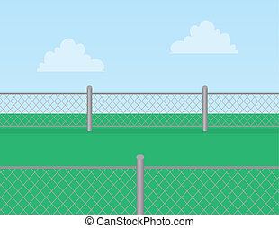 lánc csukló, fű, kerítés