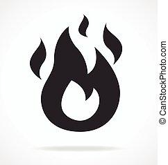 láng, ikon, elbocsát, jelkép, egyszerű, vektor