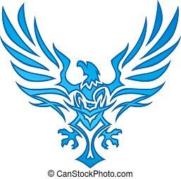 láng, sas, kék, tetovál