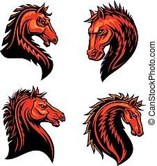 lángoló, versenyló, ló, amerikai félvad ló, vadló, vagy, kabala