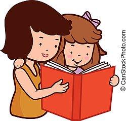 lány, ábra, vektor, book., anya, felolvasás