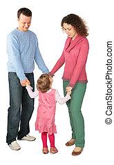 lány, összeillesztett, szülők, áll, kézbesít, birtoklás