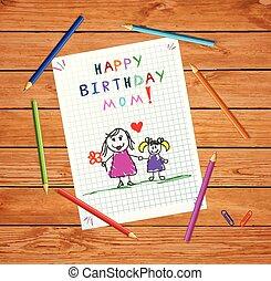 lány, atya, születésnap, mom., rajz, boldog