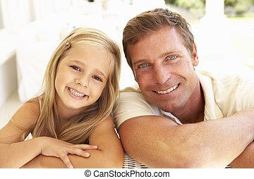 lány, bágyasztó, pamlag, együtt, anya, portré