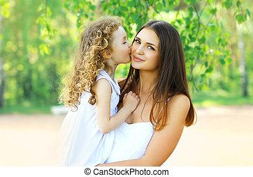 lány, bájos, vidám család, anya