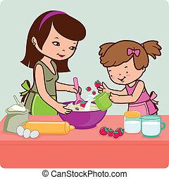 lány, főzés, ábra, vektor, kitchen., anya
