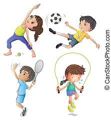 lány, fiatal, 2 fiú, játék, gyakorlás